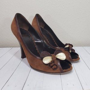 Vtg Moschino Cheap and Chic Suede Peep Bow Pumps